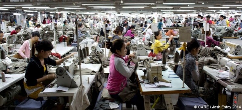 Workers at a garment factory in Cambodia