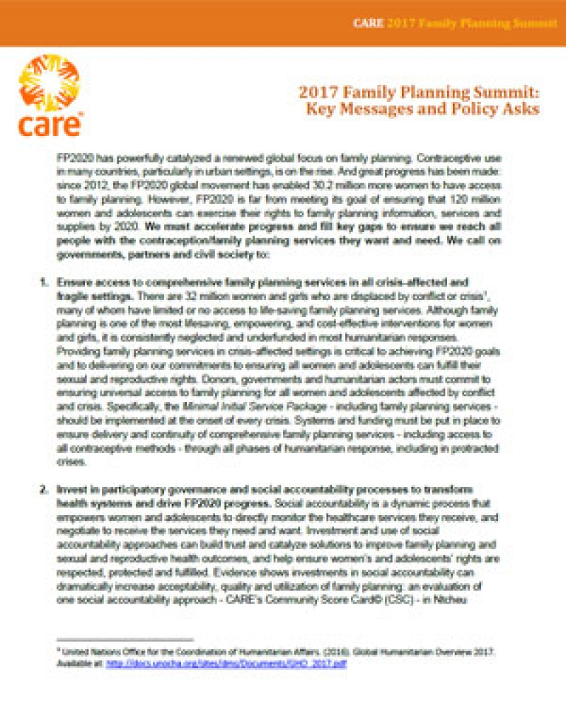 2017 Family Planning Summit: CARE's Key Messages and Policy Asks