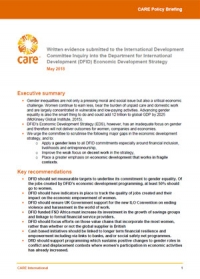 CARE evidence to the International Development Committee Inquiry into the DFID Economic Development Strategy