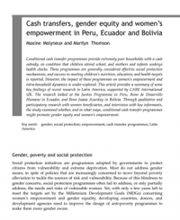 Cash transfers, gender equity and women's empowerment in Peru, Ecuador and Bolivia