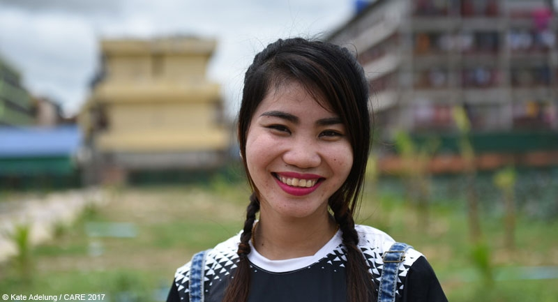 A garment factory worker in Cambodia - one of the faces of CARE's #ThisIsNotWorking campaign