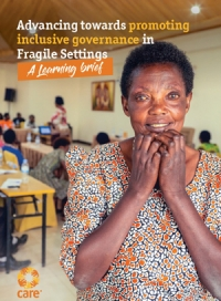 Advancing towards promoting inclusive governance in fragile settings - A learning brief