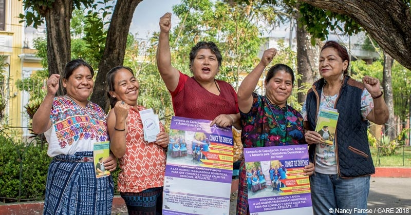 Maria Faustina, Maria de los Angeles, Fidelia Castellanos, Eloida Ortiz and Floridalma Cartrera, members of a domestic workers group in Guatemala