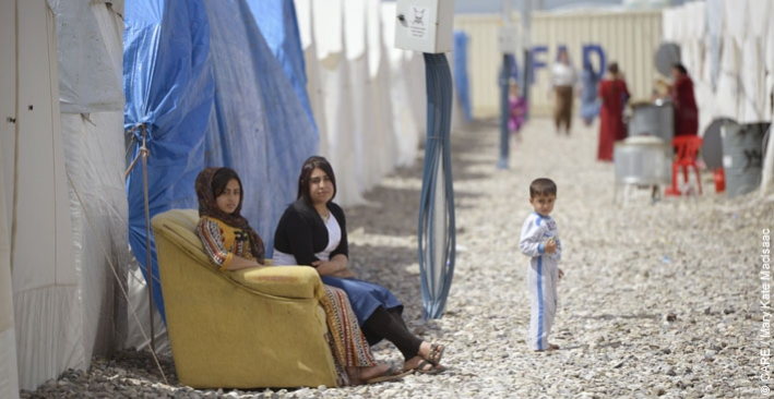Women at Berseve 1, one of the largest camps for displaced people in northern Iraq, with almost 15,000 people living there
