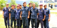 Inspector Ram Chandra Ghimire (centre) and police officers in Jaubari, Nepal