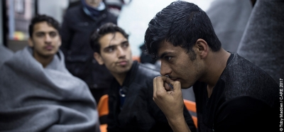 Young men at a refugee centre in Belgrade, Serbia
