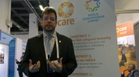 Gareth Price-Jones speaking at the CARE stand at the World Humanitarian Summit