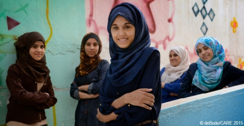 Young women in Jordan who receive vocational and business skills training to help them set up microenterprises