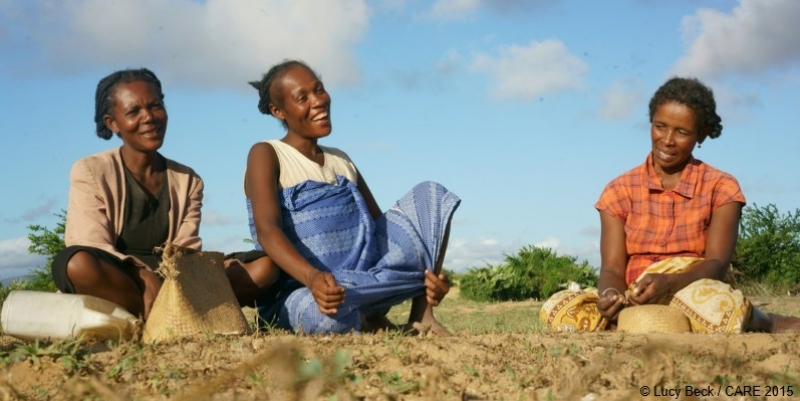 Maho, Armeline and Miza are part of a farmer field school teaching climate-smart agriculture in Madagascar