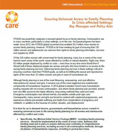 Ensuring universal access to family planning in crisis-affected settings: Key messages and policy asks