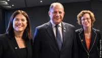 Mary Ellen Iskenderian, President and CEO of Women's World Banking; Luis Guillermo Solís, President of Costa Rica; and Michelle Nunn, President and CEO of CARE USA
