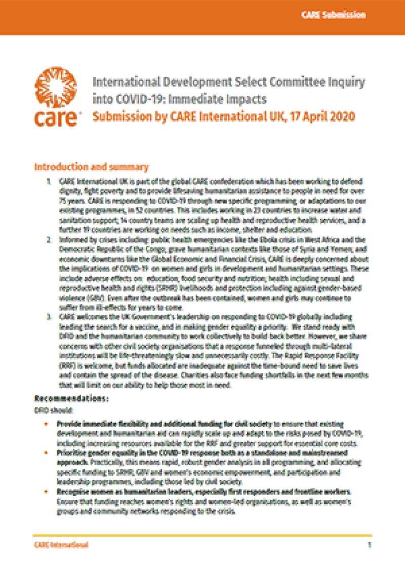 International Development Select Committee Inquiry into COVID-19: Immediate Impacts – Submission by CARE International UK