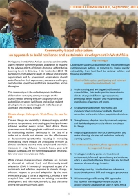 Community-based adaptation: an approach to build resilience and sustainable development in West Africa