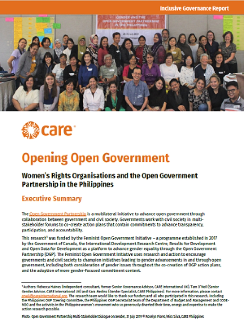 Opening open government: Women's rights organisations and the Open Government Partnership in the Philippines