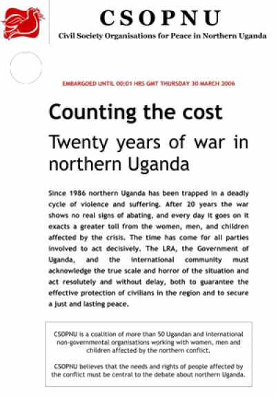 Counting the cost: Twenty years of war in Northern Uganda