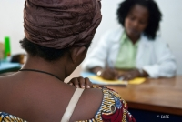 A woman survivor of sexual violence receives medical support in Burundi