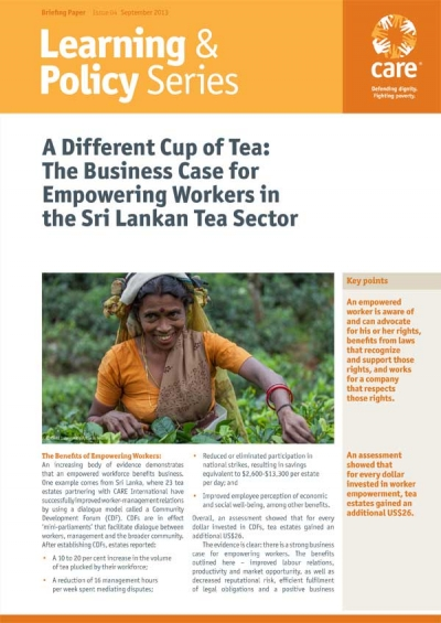 A Different Cup of Tea: The Business Case for Empowering Workers in the Sri Lankan Tea Sector