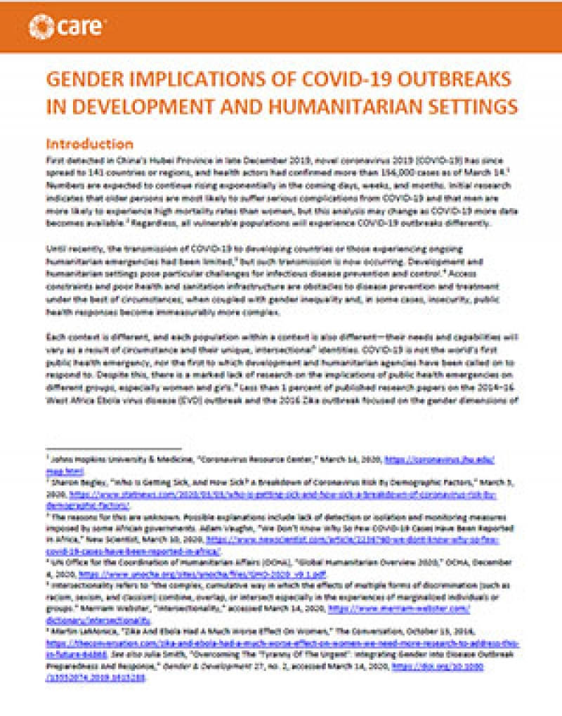 Gender implications of COVID-19 outbreaks in development and humanitarian settings