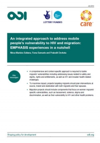 An integrated approach to address mobile people's vulnerability to HIV and migration: EMPHASIS experiences in a nutshell