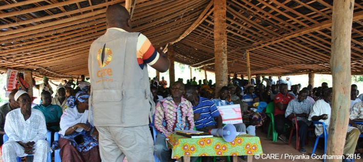 A meeting of the community development committee at Sikabatou Village, Cote d'Ivoire, organised under the Cocoa Life program