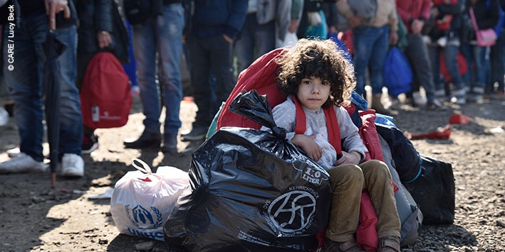 A five-year-old Syrian refugee child at a camp in Croatia