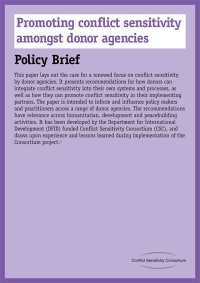 Promoting Conflict Sensitivity Among Donor Agencies – Policy Brief