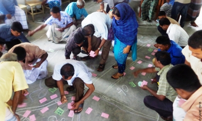 Group engaging in participatory analysis mapping activity, Bangladesh