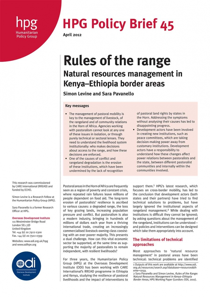 Rules of the range Natural resources management in Kenya–Ethiopia border areas (policy brief)