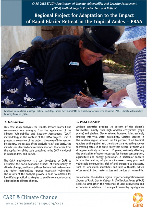 CARE CASE STUDY: Application of Climate Vulnerability and Capacity Assessment (CVCA) Methodology in Ecuador, Peru and Bolivia