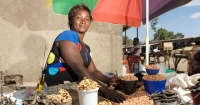 Brenda Katelele, a seasonal food seller in Zambia and member of Lendwithcare microloan foundation.