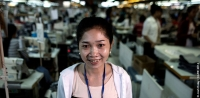 A garment worker in a factory in Cambodia